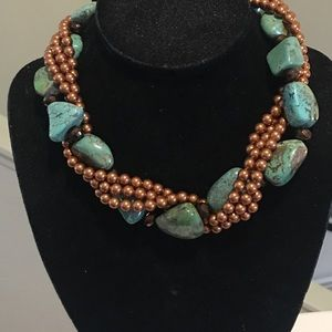 """Jewelry - 18"""" long dark gold or amber color pearl necklace"""